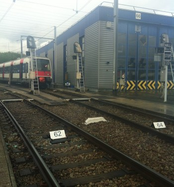 Voies dédiées au nettoyage extérieur des trains en gare de Massy-Palaiseau