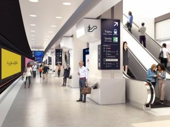Restructuration de la gare de Paris Nord - Perspective d'étude des quais RER B et D (juin 2015) Crédits : Arep / Illustrateur Maxime Viarouge